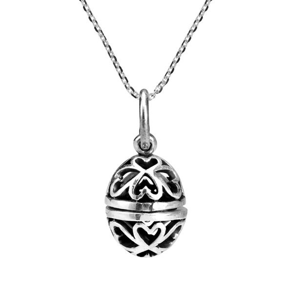 Open Heart Oval Egg Locket .925 Silver Necklace (Thailand)
