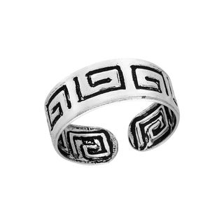 Charming Greek Key Sterling Silver Toe or Pinky Ring (Thailand)