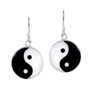 Yin and Yang Life Balance .925 Silver Dangle Earrings (Thailand)