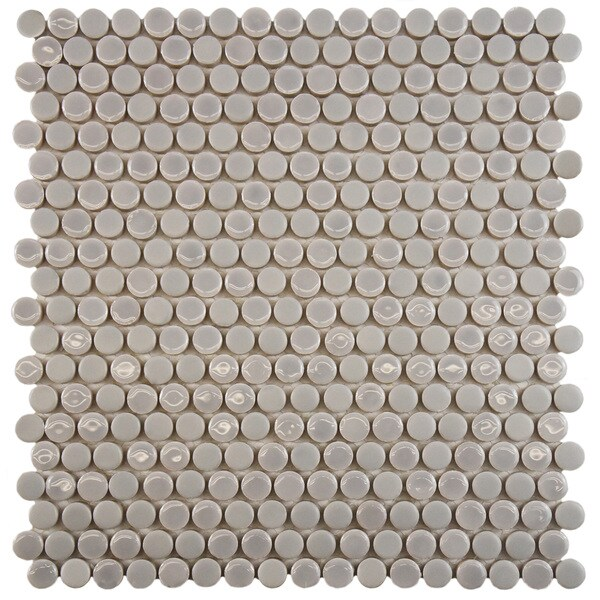 Inch Asteroid Penny Round Ash Porcelain Mosaic Floor And Wall Tile