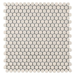 SomerTile 12x12-inch Asteroid Penny Round Almond Porcelain Mosaic Floor and Wall Tile (Case of 10)
