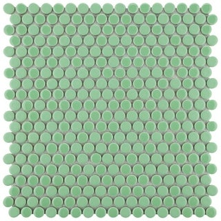 SomerTile 12x12-inch Asteroid Penny Round Capri Porcelain Mosaic Floor and Wall Tile (Case of 10)