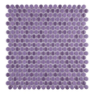 SomerTile 12x12-inch Asteroid Penny Round Purple Mosaic Porcelain Floor and Wall Tile (Case of 10)