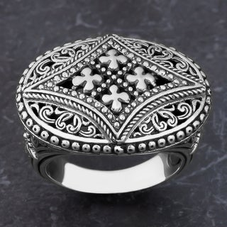Sterling Silver 'Glorious Faith' Oval Cawi Ring (Indonesia)