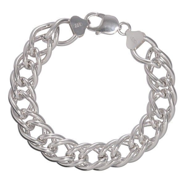 Sterling Silver 16.3mm Double Bombe Curb Chain Bracelet