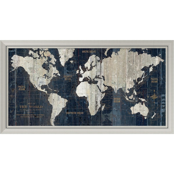 Wild Apple Portfolio 'Old World Map Blue' Framed Art Print 43 x 23-inch