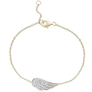 Finesque Gold over Sterling Silver Diamond Accent Wing Bracelet