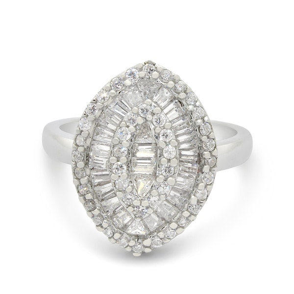 Sterling Silver Cubic Zirconia Marquise Shape Ring