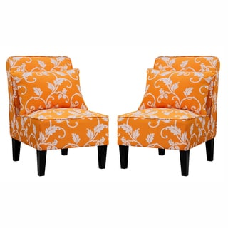 Portfolio Wylie Orange Vine Pattern Armless Chairs with Pillows (Set of 2)