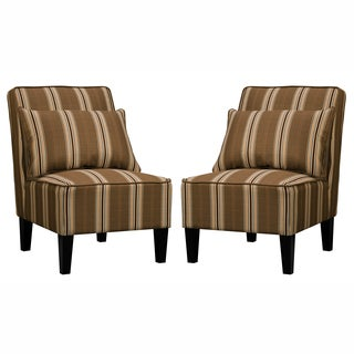 Portfolio Wylie Armless Orange and Brown Striped Chairs with Pillows (Set of 2)