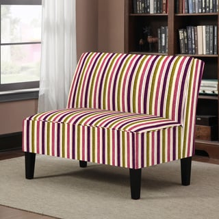 Portfolio Wylie Purple and Green Striped Armless Settee