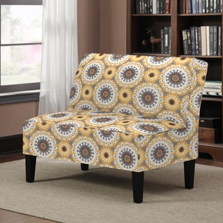 Portfolio Wylie Yellow Medallion Pattern Armless Settee