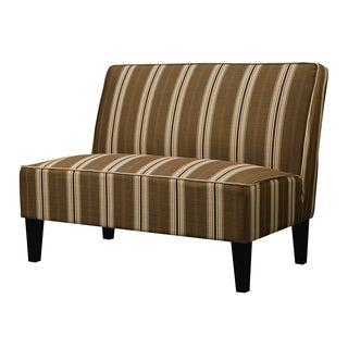Portfolio Wylie Orange and Brown Striped Armless Settee