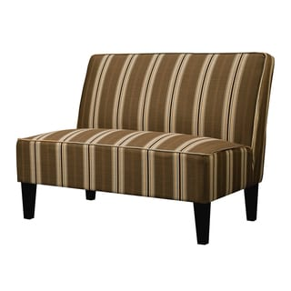 Better Living Wylie Orange and Brown Striped Armless Settee