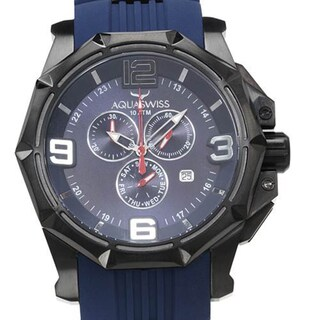 AquaSwiss Men's Vessel Blue Rubber Chronograph Watch (As Is Item)