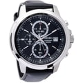 Seiko Men's SKS453 Stainless Steel and Leather Chronograph Watch