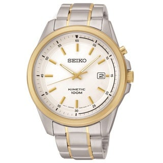 Seiko Men's SKA680 Two Tone Stainless Steel Kinetic Watch