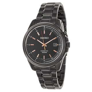 Seiko Men's SKA681 Black Ion Finished Stainless Steel Kinetic Watch