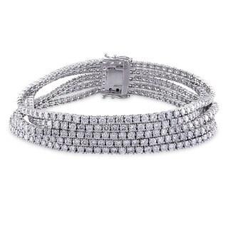 Miadora Signature Collection 18k White Gold 12 3/5ct TDW Diamond 5-row Bracelet (G-H, SI1-SI2)