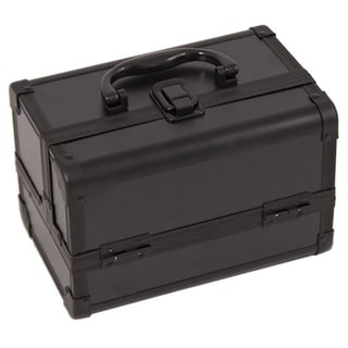 Justcase Black 2-Tier Extendable Tray Makeup Train Case