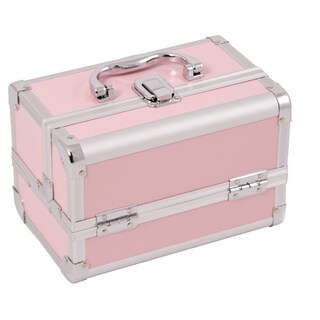 Justcase Pink 2-tier Extendable Tray Makeup Case w/Mirror