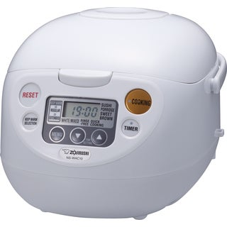 Zojirushi NS-WAC10WB White Fuzzy Logic 5.5-Cup Rice Cooker and Warmer