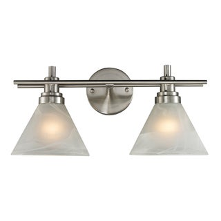 Brushed Nickel Pemberton 2-Light Bath