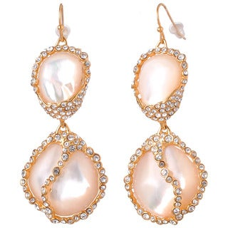 De Buman 18k Yellow Goldplated Mother of Pearl and White Czech Earrings