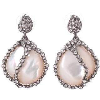 De Buman Black Rhodium-plated Mother of Pearl White Czech Earrings
