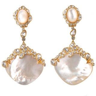 De Buman 18k Yellow Goldplated Mother of Pearl White Czech Clip-on Earrings