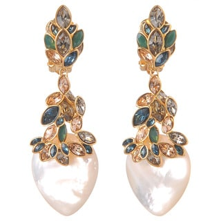De Buman 18K Yellow Goldplated or 18K Rose Goldplated Mother-of-Pearl & Czech Earrings
