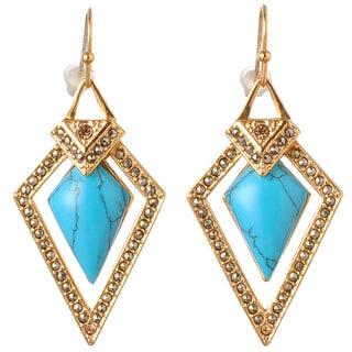 De Buman 18K Yellow Goldplated or 18K Rose Goldplated & CreateTurquoise Earrings