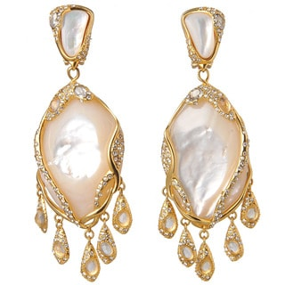 De Buman 18k Yellow Goldplated Mother-of-Pearl & Crystal Earrings