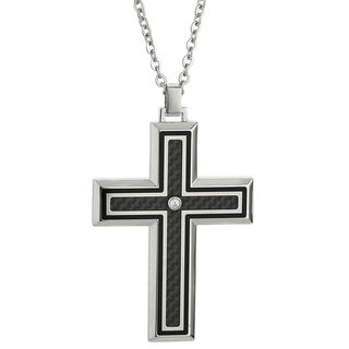 Stainless Steel Carbon Fiber Cubic Zirconia Cross Necklace