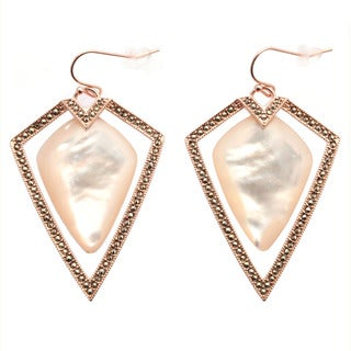 De Buman 18k Rose Gold Overlay Mother of Pearl and Marcasite Earrings
