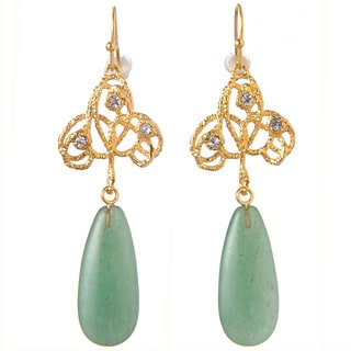 De Buman 18k Yellow Goldplated Aventurine & Crystal Earrings
