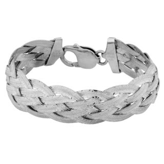 Argento Italia Sterling Silver Diamond-cut Braided Bracelet