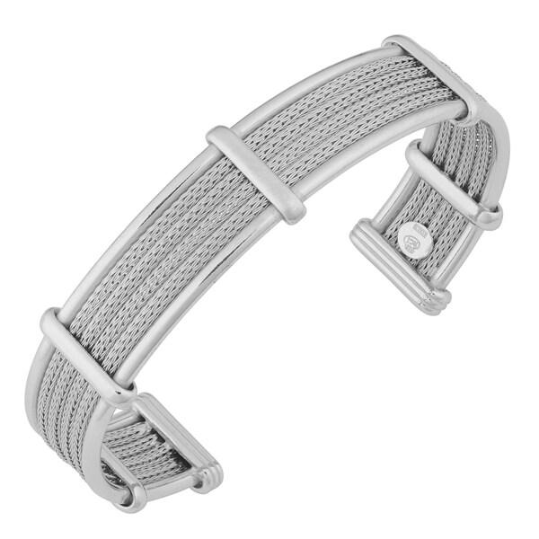 Argento Italia Sterling Silver Multi-strand Wheat Chain Cuff