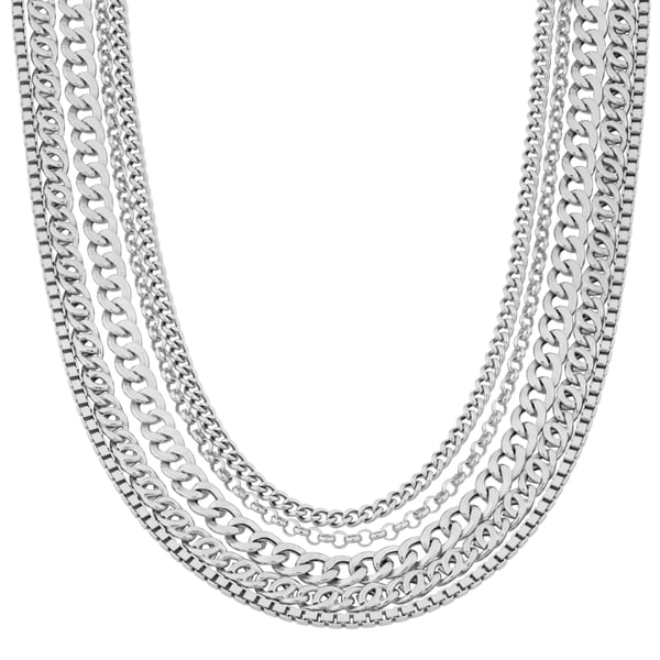 Argento Italia Rhodium-plated Sterling Silver Multi-link 20-inch Strand Necklace