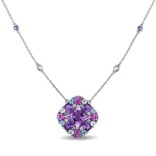 Miadora Sterling Silver 7 1/3ct TGW Amethyst and Topaz Necklace