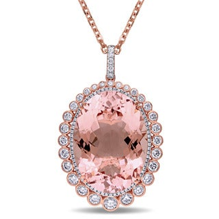 Miadora 14k Rose Gold Oval-cut Morganite 2 5/8ct TDW Diamond Necklace (G-H, SI1-SI2)