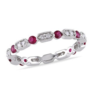 Miadora 14k White Gold Ruby 1/6ct TDW Diamond Eternity Ring (G-H, I1-I2)