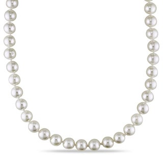 Miadora 14k Yellow Gold Akoya White Pearl Strand Necklace (7-7.5 mm)