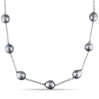 Miadora 14k White Gold Tahitian Black Pearl Necklace (11-12 mm)