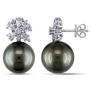 Miadora 18k White Gold Tahitian Pearl and 1ct TDW Diamond Earrings (H-I, I1-I2) (12-13mm)