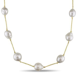 Miadora Signature Collection 14k Yellow Gold South Sea White Pearl Station Necklace (12-13 mm)