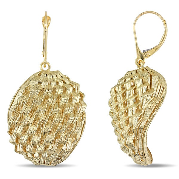Miadora 18k Yellow Gold Dangle Texture Earrings