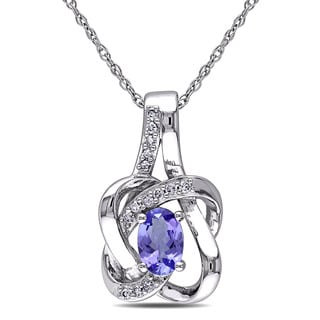 Miadora 10k White Gold Tanzanite and Diamond Accent Necklace
