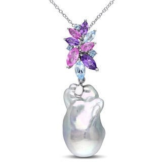 Miadora Sterling Silver Cultured Freshwater Pearl, Amethyst, Blue Topaz and Created Sapphire Necklace (14.5-15 mm)