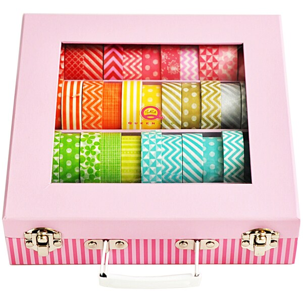Trendy Tape Storage Case For 48 Rolls-Pink
